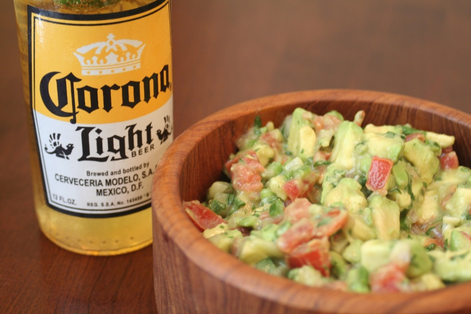 Corona Light and guacamole